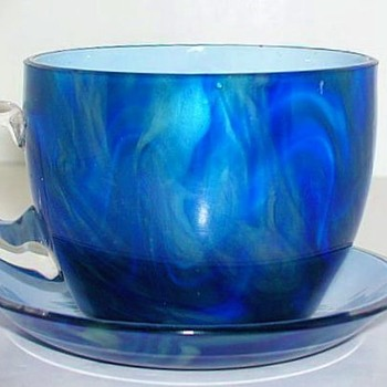 Rare Loetz Titania Demitasse Cup and Saucer. - Art Glass