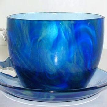 Rare Loetz Titania Demitasse Cup and Saucer.