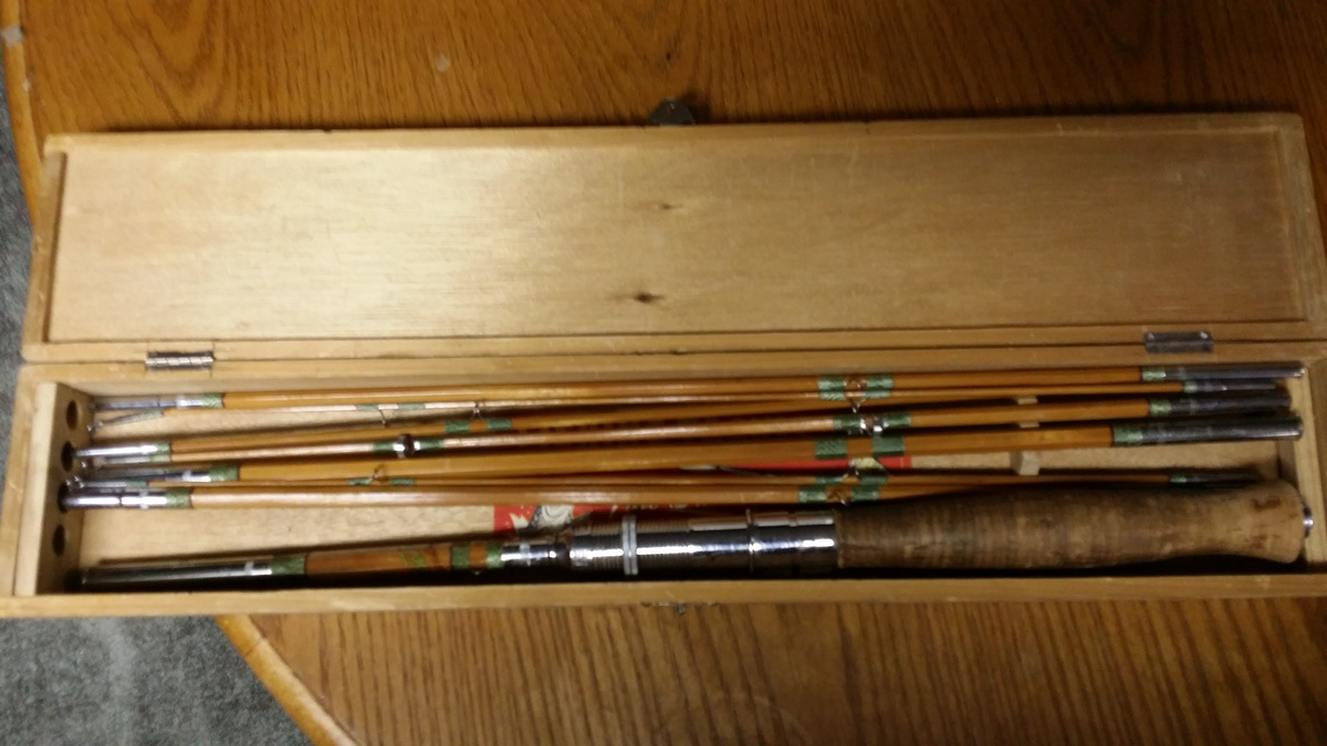 Hackco deluxe fly and baitcasting rod vintage bamboo for Antique bamboo fishing rods