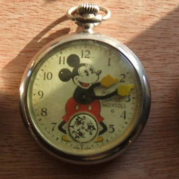 1933 Mickey Pocket Watch with Large #5 & 7 - Pocket Watches