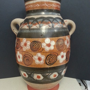 Redware Folk Art Two Handle Jug, Pot or Vase?  Mexican? - Art Pottery
