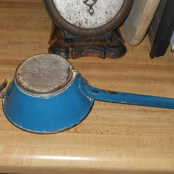 Blue Enamelware Wire Mesh Strainer - Kitchen
