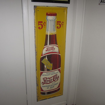 Self framed double dot vertical Pepsi sign