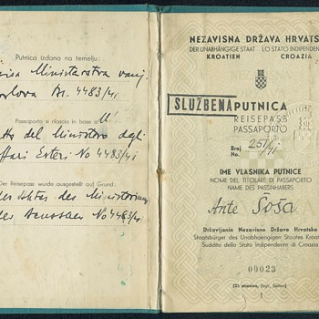 WW2 Croatian service passport - Paper