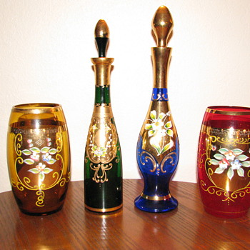 Enameled Bohemian Decanters &amp; Jars