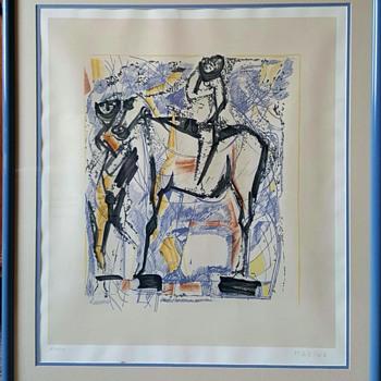 "Marino Marini ""Horseman"" Color Lithograph - Mid-Century Modern"