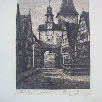 Unidentified Drawing of European location.   - Posters and Prints