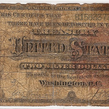 1886 $2.00 Silver Certificate. - US Paper Money