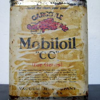 Vacuum Oil Co. Gargoyle Mobiloil Can w/ Lead Shipping Seal - Petroliana