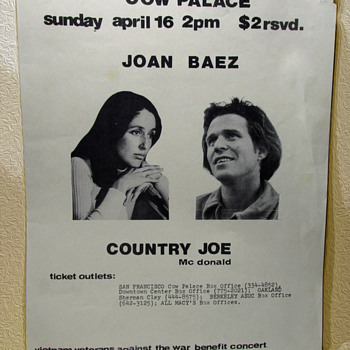 Anti-War Cow Palace Concert Flyer Joan Baez & Country Joe