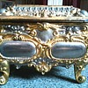 "Heavy Ornate White Metal Jewelry Casket with ""Alpacca"" Inserts / Rococo Design / German Early 20th Century"