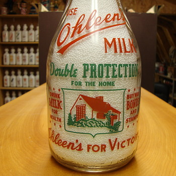Ohleen's Milk Quart (Minneapolis, Minnesota) War Slogan........ - Bottles
