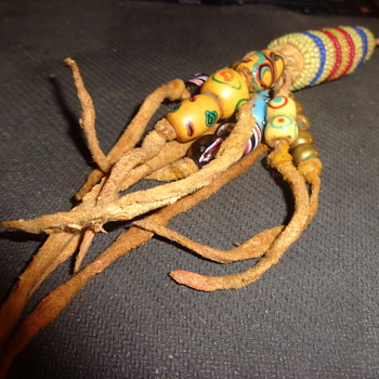 Antique heavily beaded brain tanned leather native American Item. - Native American