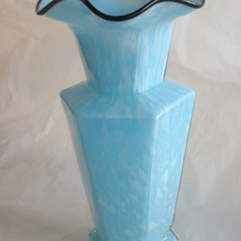 Blue & White Spatter Glass Vase Black Trim Unknown - Art Glass
