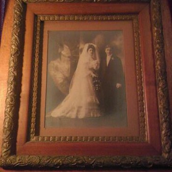 Great Gr. Grandparents Frederick and Louise Foelske with lovely oak gilded gesso frame