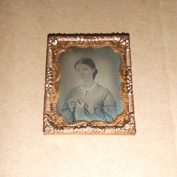 Ambrotype of woman knitting