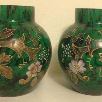 Welz oxblood and green pair - pleasing enamel