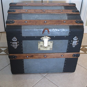 Small Zinc Covered Trunk with Brass Lock - Furniture