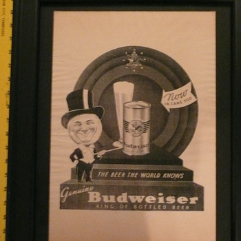 "1936 Budweiser ""Beer The World Knows"" single color print."