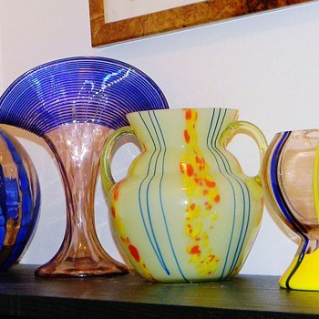 My Kralik's In Blue's & Yellow's Vase's   - Art Glass
