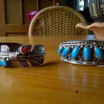 Flea Market Find!! Signed Navajo Sterling Silver Cuff Bracelets > Justin Morris & V. Hicks - Fine Jewelry