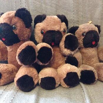 3 Shanghai Dolls Factory Teddy Bear Brown Wool Plush  - Dolls
