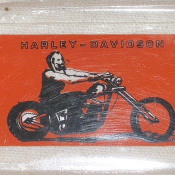 Unique Harley Davidson Glass Ashtray – My Man's Riding High  - Tobacciana