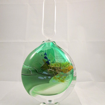 Signed Vintage Blown Art Glass Decanter