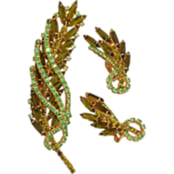 unmarked green marquise and AB boorch and earrings - Costume Jewelry