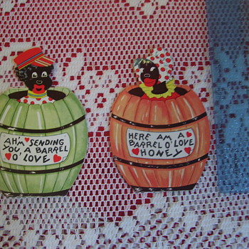 "2 CUTE VINTAGE BLACK KIDS VALENTINES--A ""SET"", FIGURALS--VERY DESIRABLE."