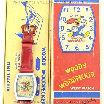 "c.1950's Woody Woodpecker Time Teacher ""Regular"" watch by Ingraham in Box - Wristwatches"