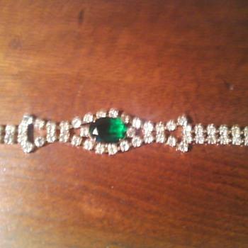 Emerald Rhinestone Bracelet - Costume Jewelry