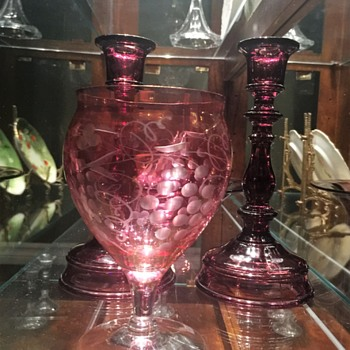 Etched Cranberry Glass