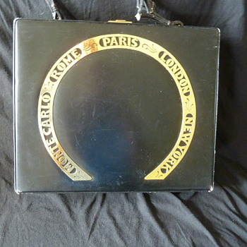Grandma's high-end black leather box purse - Cities Destinations - from the 50's or 60's