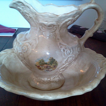 Pitcher and Wash Basin Set - Art Pottery