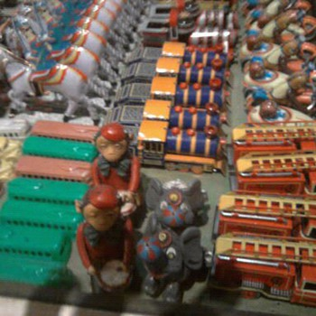 Old toy displays at Christmas museum.