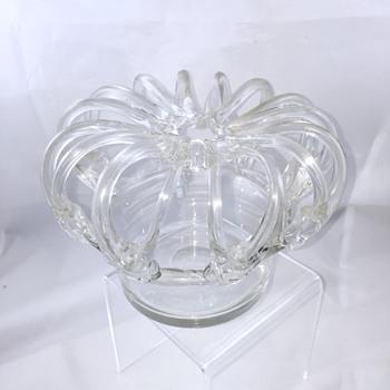 Antique Bohemian? French? Crystal Frog Bridesbasket Vase  - Art Glass
