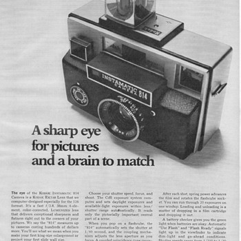 1969 - Kodak Instamatic 814 Camera Advertisement - Advertising