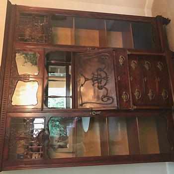 1800's Antique China Cabinet, original glass, hardware, keys & photo proof of authenticity