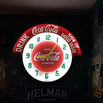 1957...Coca-Cola Theme...Neon Cleveland Clock - Coca-Cola