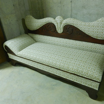 Antique 1800s Lounge Chaise Sofa Unfolds to Bed - Furniture