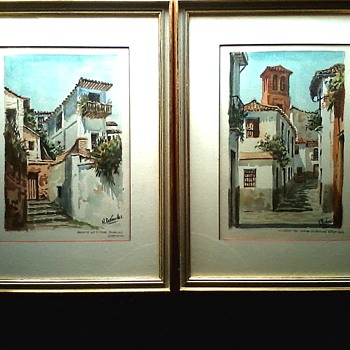 "Nicolas Bermudez Watercolors /13"" x 17 "" Matted And Framed /Circa 20th Century - Visual Art"