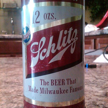 Schlitz flat top steel beer can - Breweriana