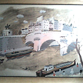 "Large French Waterfront Print 26"" x 35"" Framed / Marked ""Hand Printed in France""/Circa Mid 20th Century/"
