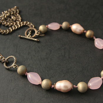 Pink and Golden Monet Necklace - Costume Jewelry