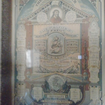 1883 poster of Tem Commandments & the Lords prayer