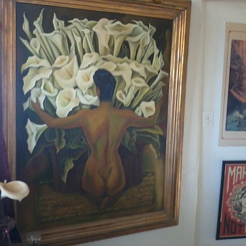 "Painting Copy, ""Woman With Calla Lilies"", Diego Rivera with Model Frida Khalo."