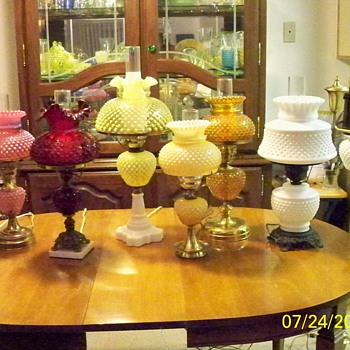 my fenton hobnail lamp collection