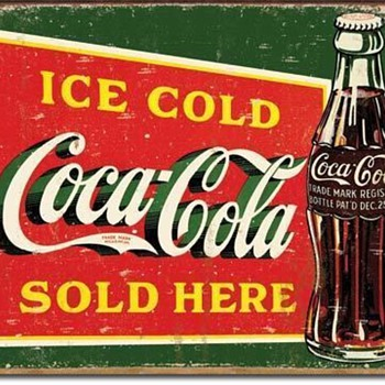 Ice Cold COKE Coca Cola Sold Here Retro Metal Tin Sign - Signs