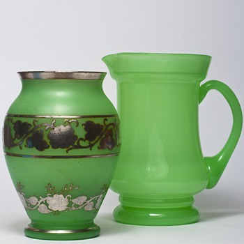 bohemian uranium silver overlay vase - Art Glass